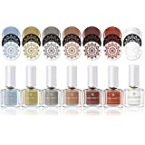 BORN PRETTY Nail Stamping Polish Nail Art Varnish DIY Stamp Printing Lacquer Earth Tone Series Polish 6ml 7 Bottles