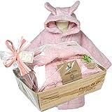 出産祝い 女の子にオーガニックコットン ベビーバスローブ ピンク(ギフトラッピング) (74/80(80cm))