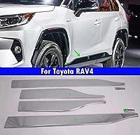 6Pcs 車車のドアトリム車の四ドアトリムストリップ 黒 適している For Toyota RAV4 2019 2020 (銀)