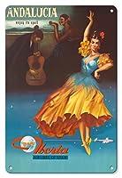 22cm x 30cmヴィンテージハワイアンティンサイン - アンダルシア、スペイン - その呪文の下でお楽しみください - スペインのイベリア航空 - ビンテージな航空会社のポスター c.1959