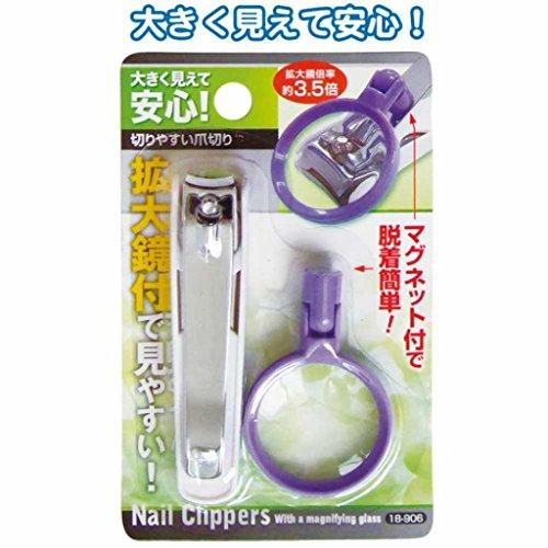 大きく見えて切り易い簡単脱着拡大鏡爪切り 【まとめ買い12個セット】 18-906