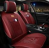 (ファーストクラス)FirstClass フォーシーズン 前部カーシートカバー 車保護シート フロント用シートカバー ビスコース&PUレザー製 通気性に富む 快適 スムーズ 汎用 5シート車 2枚 レッド