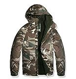 ( UN ANANAS ) ブラウン迷彩 ジャンバー 超あったか 裏起毛 雪 冬 暖かい アウター メンズ ジャケット(M)