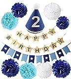 BABY tree バースデー デコレーション セット 1歳 2歳 3歳 誕生日 飾り (2歳 ブルー)