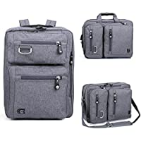 "17.3"" Laptop 2 in 1 Backpack Messenger Bag Evecase Backpack Carrying Messenger Shoulder Case Bag Fits Up to 17.3 inch Laptop Chromebook MacBook - Gray"