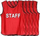 Fields 【6月限定!大セール】ビブス 「STAFF」ロゴ入り フリーサイズ 5枚セット (レッド) イベント、ボランティア、社会活動に!