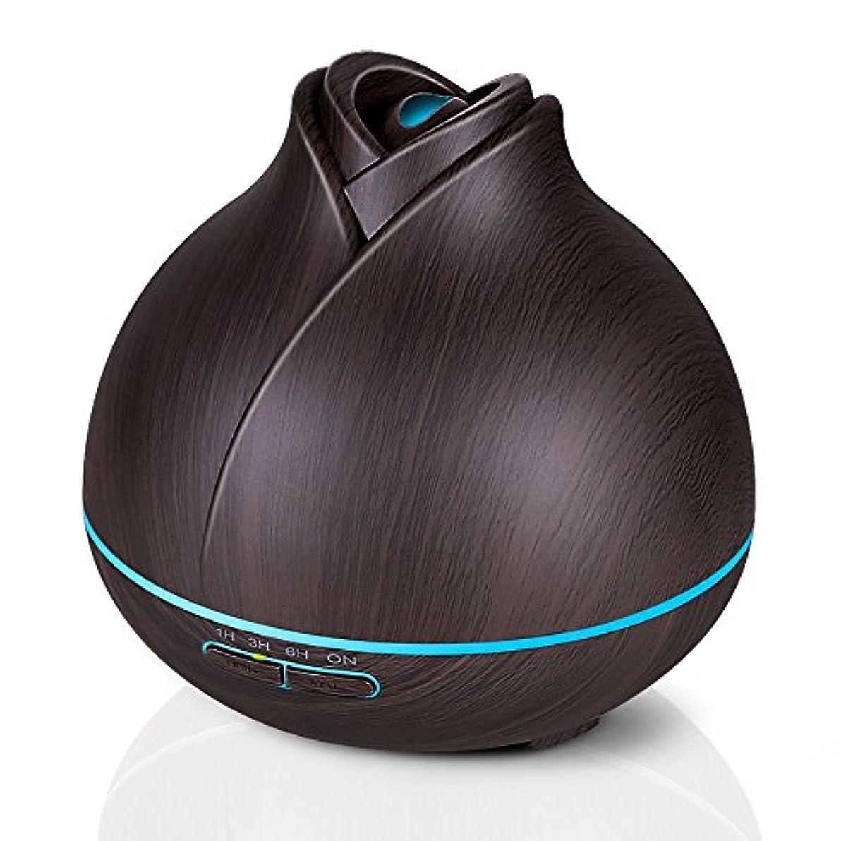 ペン超音速下位エッセンシャルオイルディフューザー、400ミリリットル電気超音波クールミスト加湿器アロマディフューザー、7色LEDライト付き空気清浄機