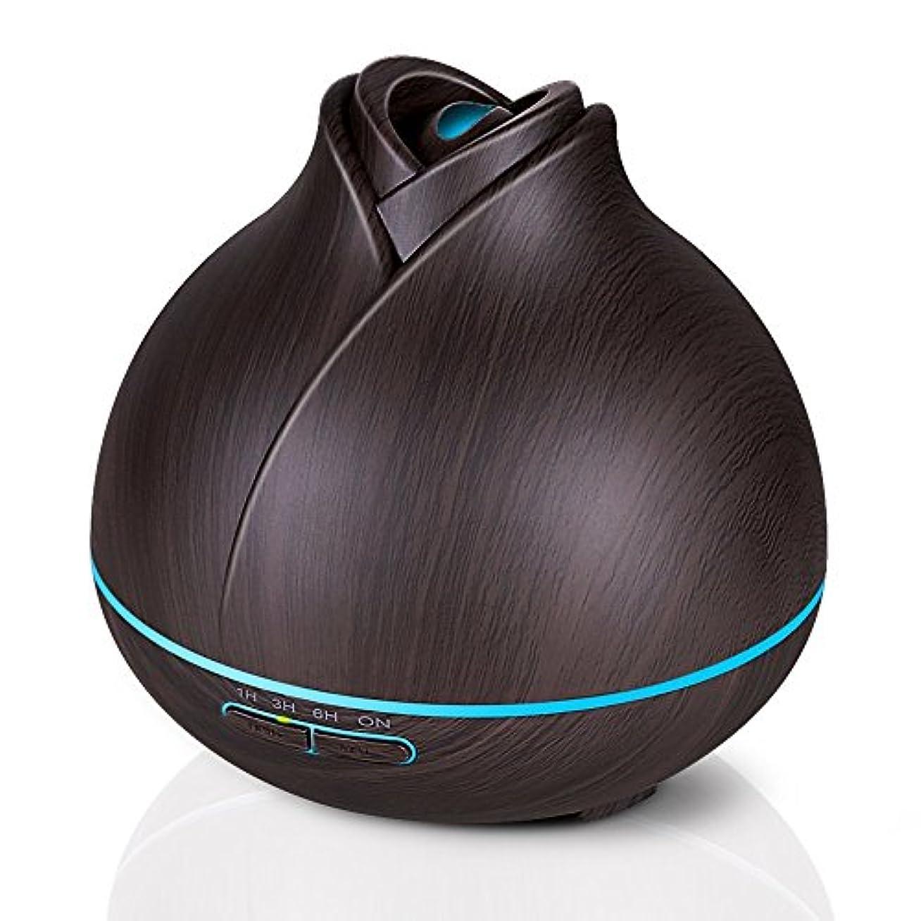 未来雇用者割合エッセンシャルオイルディフューザー、400ミリリットル電気超音波クールミスト加湿器アロマディフューザー、7色LEDライト付き空気清浄機