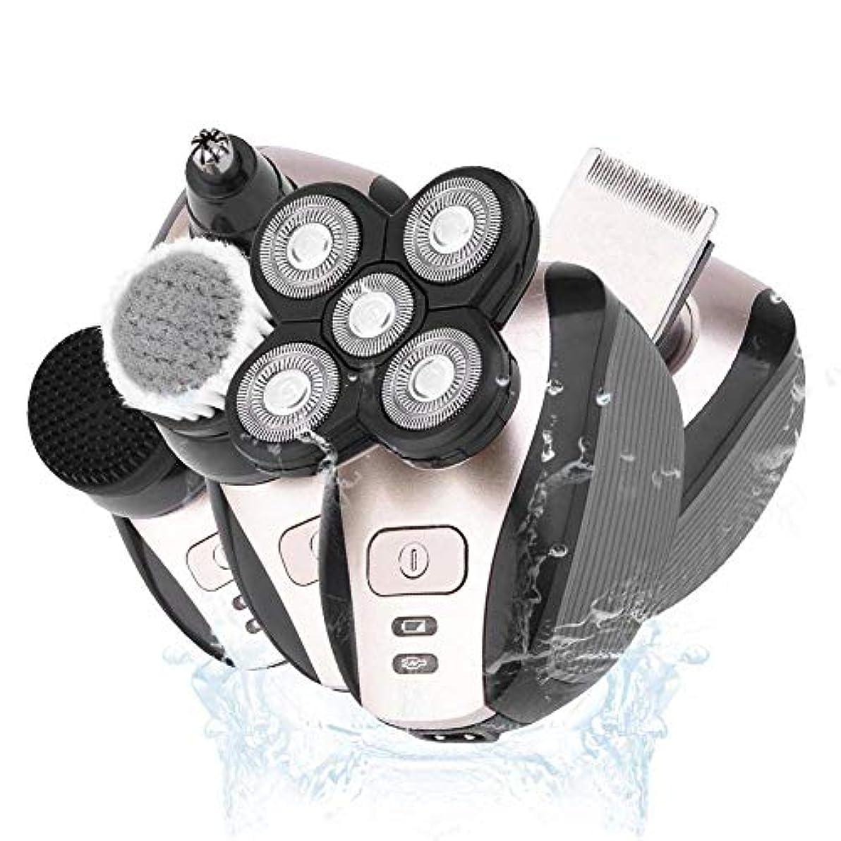 葉暴行音楽家1 4D電気シェーバー充電式のヘアトリマーヒゲトリマーチタンバリカントリマー男性のひげ剃り機でバリカン、5