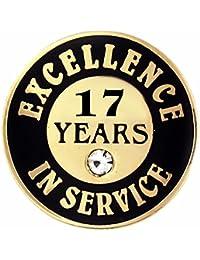 PinmartのゴールドメッキExcellence inサービスエナメルラペルピンW /ラインストーン – 17年 10 ゴールド