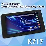 7インチ Android4.4搭載タブレット クアッドコアCPU ROM:8GB 広視野角IPS液晶 Bluetooth対応 F/Rダブルカメラ GPS搭載 FMTK717