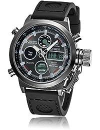 OHSEN腕時計クォーツアナログデジタルデュアルタイムラバーバンドブラック