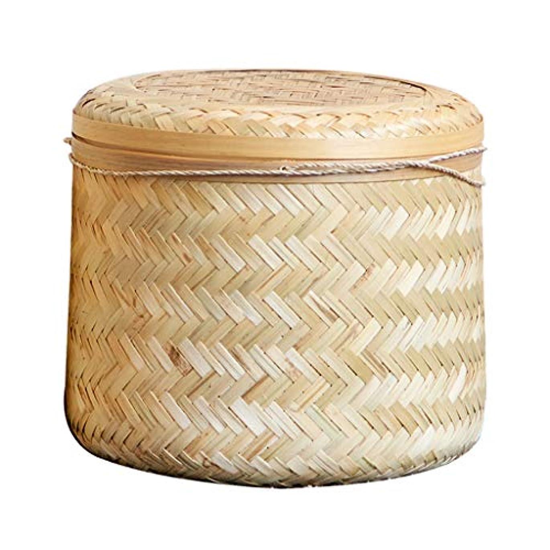 不安定謎めいた記念日SMMRB 竹のストレージバスケットのストレージバスケットのマニュアルストレージボックスのストレージタオルの破片ボックスのデスクトップストレージボックス、ラウンド (サイズ さいず : 21cm*23cm)