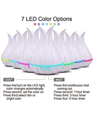 エッセンシャルオイルディフューザーと加湿器、ミストエッセンシャルオイルアロマ加湿器のための超音波アロマセラピーディフューザー、400ミリリットル水タンク7色LEDライト,White