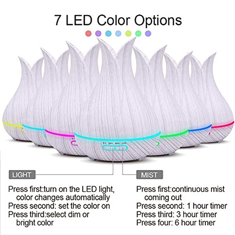 思い出すアクティブ持つエッセンシャルオイルディフューザーと加湿器、ミストエッセンシャルオイルアロマ加湿器のための超音波アロマセラピーディフューザー、400ミリリットル水タンク7色LEDライト,White