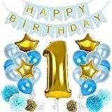 1歳 誕生日 飾り付け バルーン HAPPYBIRTHDAY ガーランド ハニカムボール フラッグガーランド セット ハート 風船 バースデー パーティーグッズ (ブルー)