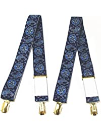 メンズサスペンダー ペイズリー柄 ブルー ストレート型