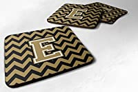 セットの4文字E ChevronブラックandゴールドFoamコースターのセット4