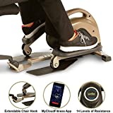 Exerpeutic 900E EXERWORK No Impact Bluetooth Smart Cloud Fitness Under Desk Mini Elliptical Trainer with Extendable Chair Hook and Free App