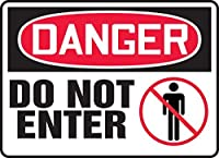 Accuform MADM018VP Plastic Sign Legend DANGER Do Not Enter When Equipment is Operating 7 Length x 10 width x 0.055 Thickness Red/black On White 7 Height 10 Wide 7 Length Plastic 7 x 10 [並行輸入品]