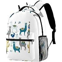 Backpack Llama Or Alpaca and Cactus School Bag Bookbag Hiking Travel Rucksack