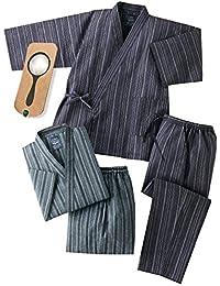 2着組 上下セット 夏用 涼しい しじら織り作務衣(綿100%) メンズ 男性 C903350 しおり型ルーペ付