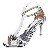 (ビューメンス) Beaumens ハイヒール サンダル ピンヒール アンクル ストラップ パーティー シューズ 靴 くつ 結婚式 パンプス 銀 35