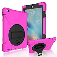iPad 2/3/4 Back Case, DIGIC Hybrid PC Silicone Armor Defender Cover with Hand Strap 360 Degree Rotation Stander Full Protective Tablet Shell for Apple iPad 2/3/4, Rose