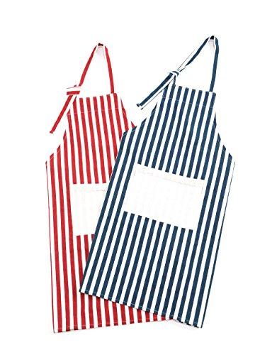 searina エプロン 綿 ペアルック 2枚組 女性用 メンズ用 かわいい おしゃれ ご新婚 プレゼント (フリー, 赤色・紺色セット品)