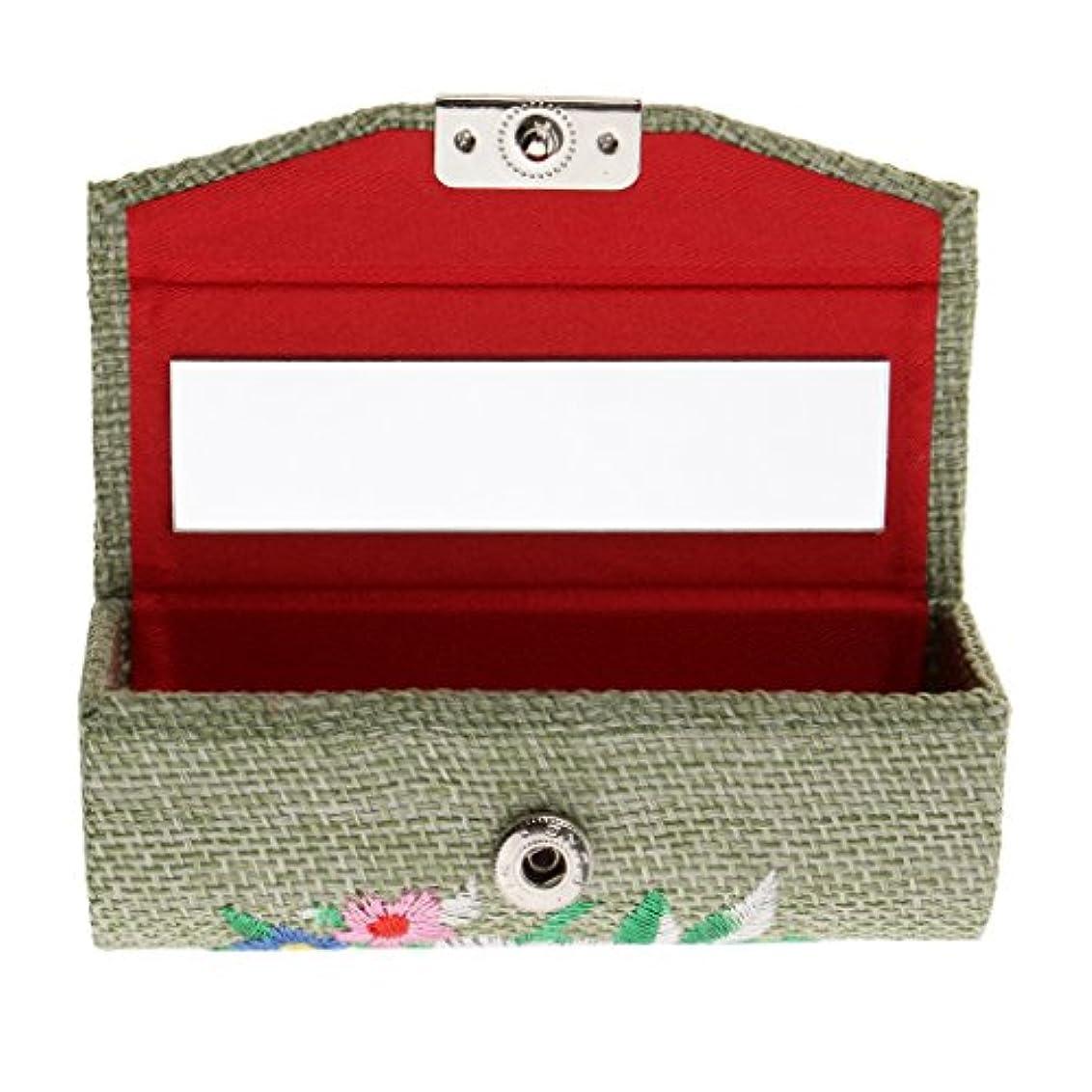 アドバンテージ非常に下線CUTICATE 化粧ポーチ 口紅ホルダー 小物入れ 収納ケース ミラー付き 刺繍 レトロ 6色選べる - ライトグリーン