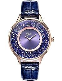YADAN レディース ファッション 本革 バンド ジュエリー ラインストーン 薄い 小さい ダイヤル 防水 クォーツ 腕時計 (パープル)