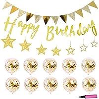 Jiudam 誕生日 飾り セット 風船 ゴールド インフレータブルチューブ 付き HAPPY BIRTHDAY 装飾 バースデー パーティー 飾り付け