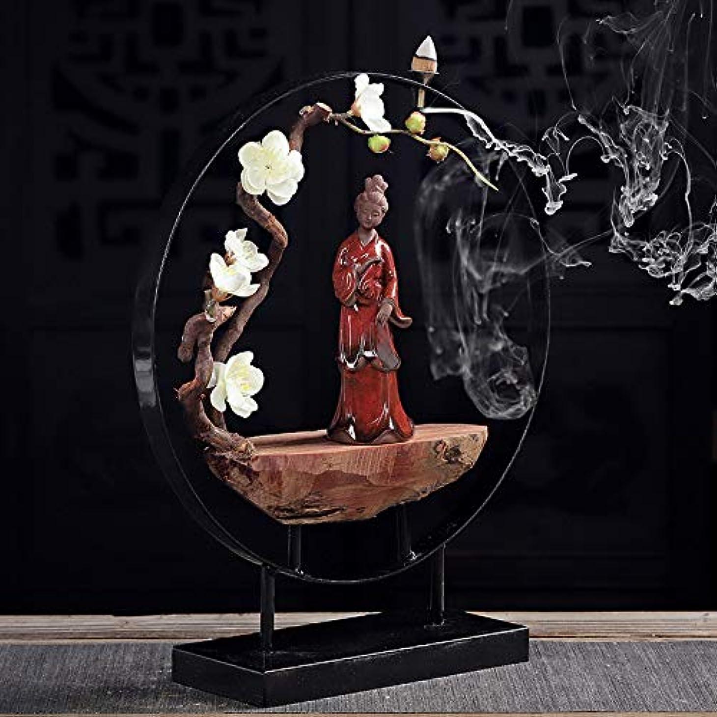 落とし穴便利混合したデュアルユーススティック香炉とコニカル香炉セラミック香炉像逆流香バーナーフレグランススティックフレーム30 * 35センチ