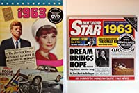 1963 Birthday Gifts Pack - 1963 DVD Film , 1963 Chart Hits CD and 1963 Birthday Card