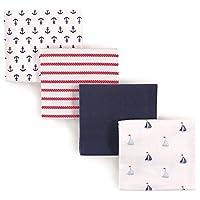 Luvable Friends 4 Piece Flannel Receiving Blankets Sailboat [並行輸入品]