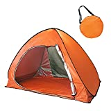 MRG ワンタッチテント オレンジ フルクローズタイプ 2~3人用 200×130×130cm UPF50+ uvカットコーティング 防水加工 サンシェード テント キャリーバッグ付き (オレンジ)