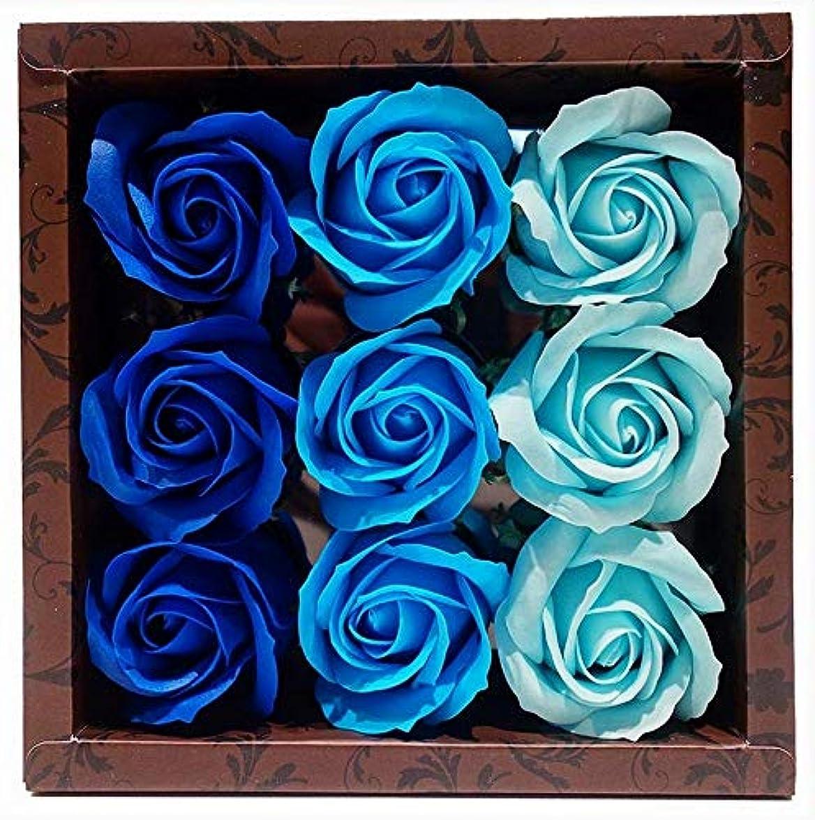 運ぶ対話補助花のカタチの入浴料 ローズ バスフレグランス フラワーフレグランス バスフラワー (ブルー)