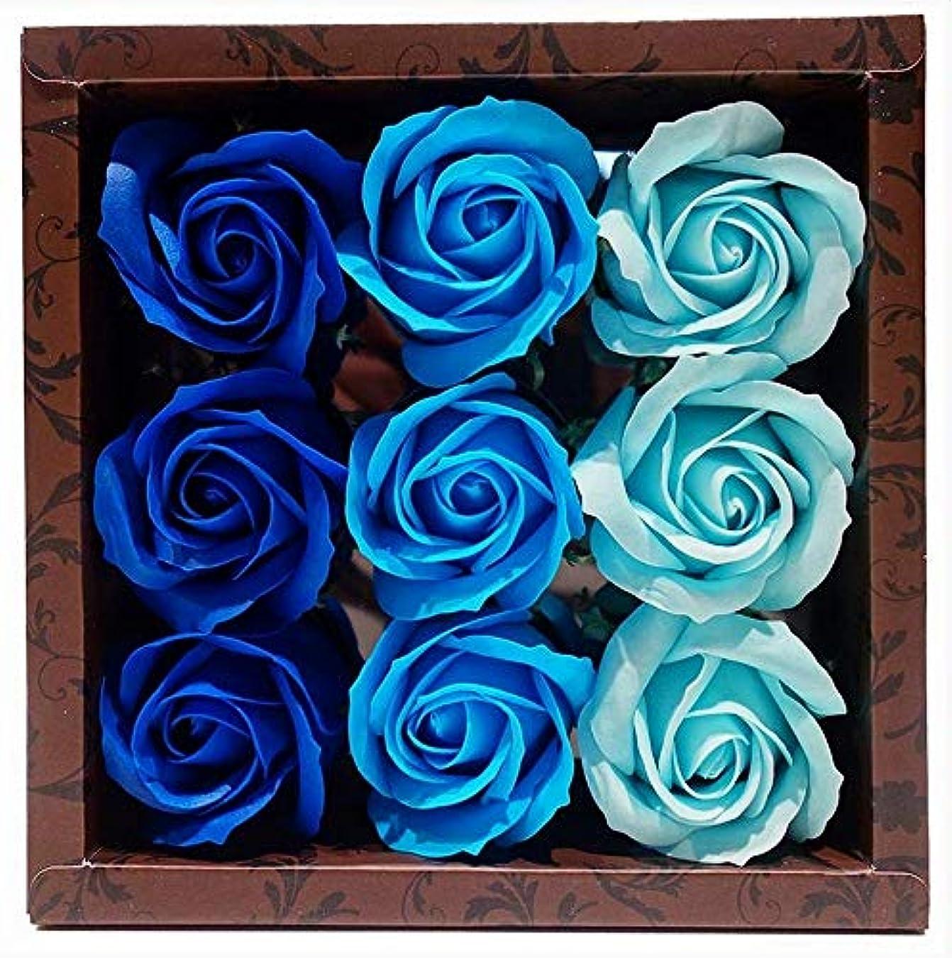 放棄する凶暴なピルファー花のカタチの入浴料 ローズ バスフレグランス フラワーフレグランス バスフラワー (ブルー)