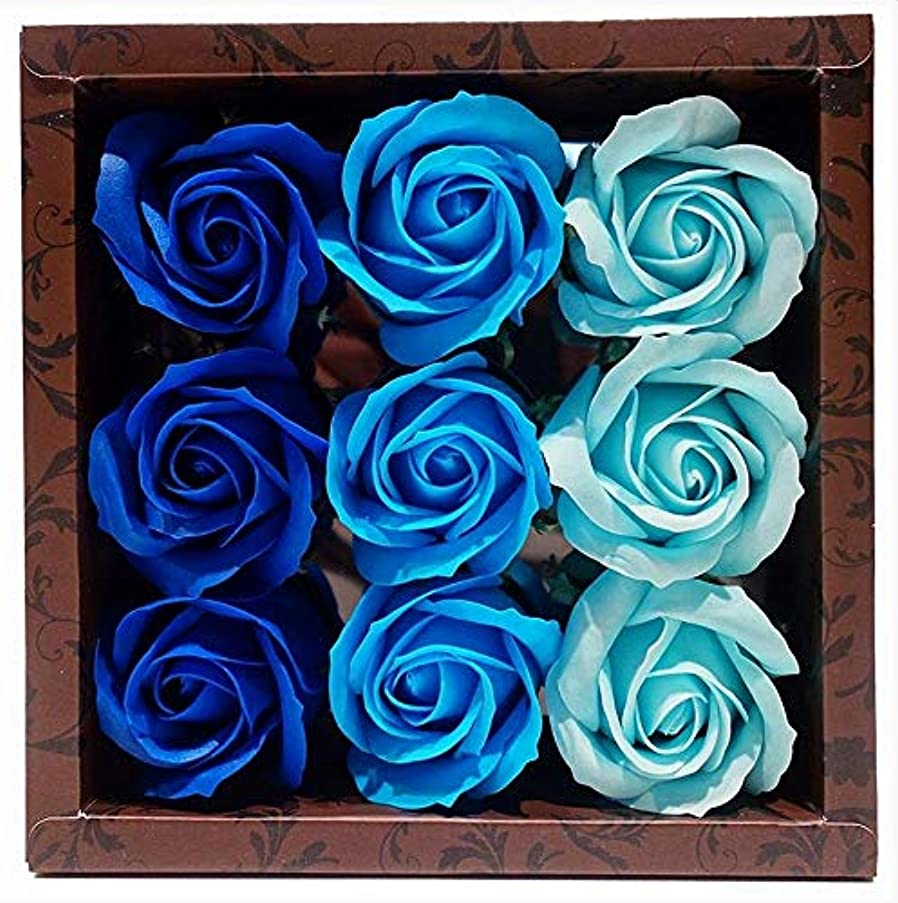 批評トロリー祖先花のカタチの入浴料 ローズ バスフレグランス フラワーフレグランス バスフラワー (ブルー)