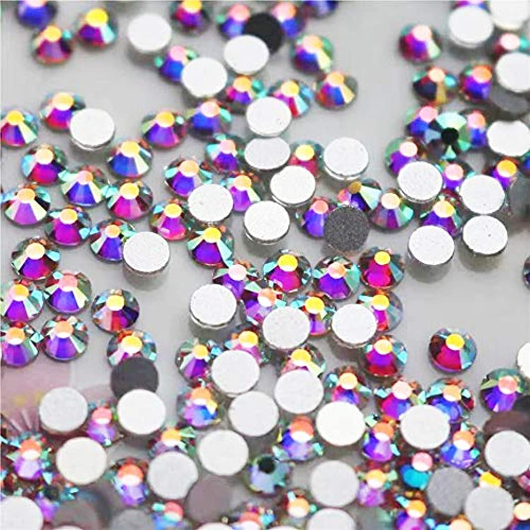 全体に錆び試してみるWTX ガラス製 ラインストーン 高品質 1440粒 SS4~SS30 ネイル デコ クリスタル (SS8(約2.3-2.5mm), オーロラ)