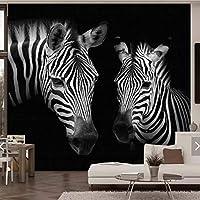 Weaeo 3Dヴィンテージブラックホワイトシマウマの動物の写真の壁紙リビングルームのテレビの背景プリント壁画デコレーションファッション壁画カスタム-120X100Cm