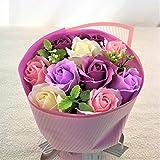 【Amazon.jp限定】BIO ミディローズブーケ フレグランスソープフラワー ローズ9輪 定番商品 クリアバック・ギフトボックス付 お祝い 記念日 お見舞い バレンタインデー ホワイトデー 母の日 (パープル)