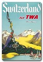 22cm x 30cmヴィンテージハワイアンティンサイン - スイス - ルツェルン湖スイスアルプス - TWA (トランス・ワールド航空) で飛ぶ - ビンテージな航空会社のポスター c.1952