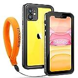 iPhone 11 Waterproof Case, Inkolelo Built-in Screen Full-Body Protector with Floating Strap IP68 Waterproof Case for iPhone 11 6.1 Inch (2019) - Matte Black/Orange