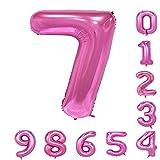 誕生日パーティバルーン(0-9)40インチピンクの数字アラビア数字の装飾7