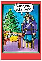 Peg LegソックスクリスマスFunny Greeting Card 1 BLANK Card & Envelope (SKU:5709K)