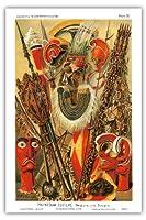 ポリネシア文化 - 武器やデザイン、ハワイアンアーティファクト、スピアーズ、フェザーマントとTikis - 人類の歴史からイラスト - ビンテージな彫刻されたブックプレート によって作成された G. ムッツェル c.1893 - アートポスター - 31cm x 46cm