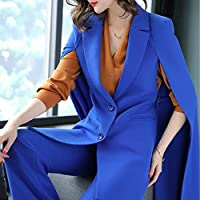 XuBa Spring Office Lady Long Trench Coat Cloak Shawl Coatand Wide Pants Suit Women's Fashion Bule Two Pieces Set