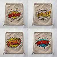 NO4 : BOOM BANG POW WOW Print Custom Vintage Outdoor Beach Gym Swimming Clothing Shoes Storage Bag Drawstring Backpack