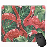 Cheng xiao Mouse Pad Beautiful Red Flamingos Illustration Rectangle Rubber Mousepad Non-toxic Print Gaming Mouse Pad with Black Lock Edge,9.8 * 11.8 in,ベーシック マウスパッド ゲーム用 標準サイズ